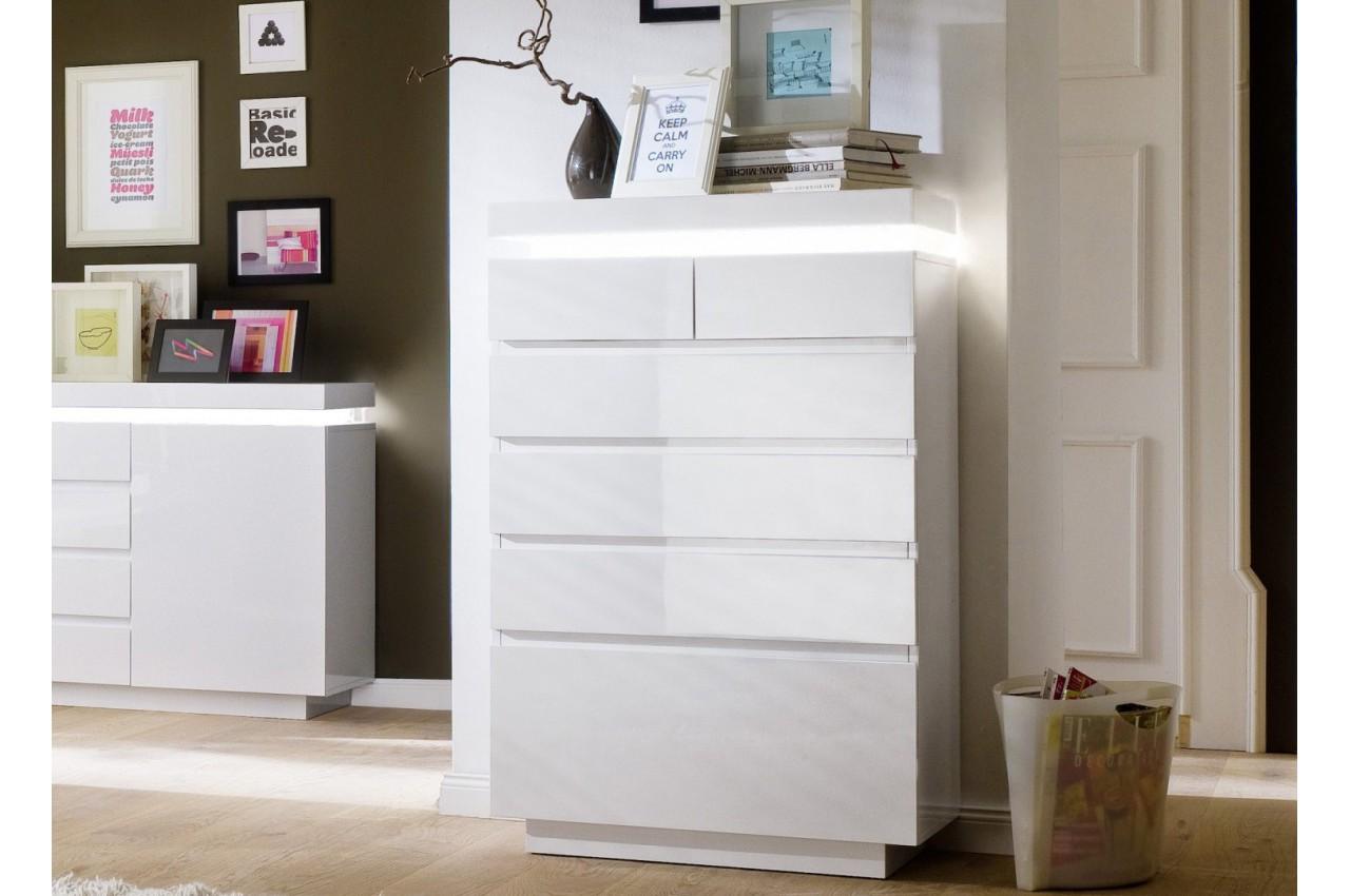 commode design laqu blanc 6 tiroirs cbc meubles. Black Bedroom Furniture Sets. Home Design Ideas