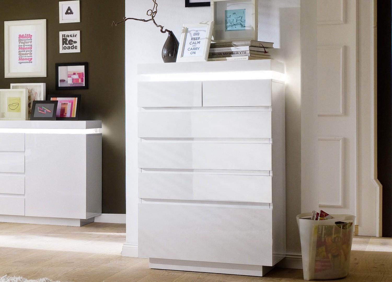 Commode design laqué blanc 6 tiroirs