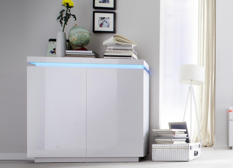 Commode design laqué blanc 2 portes