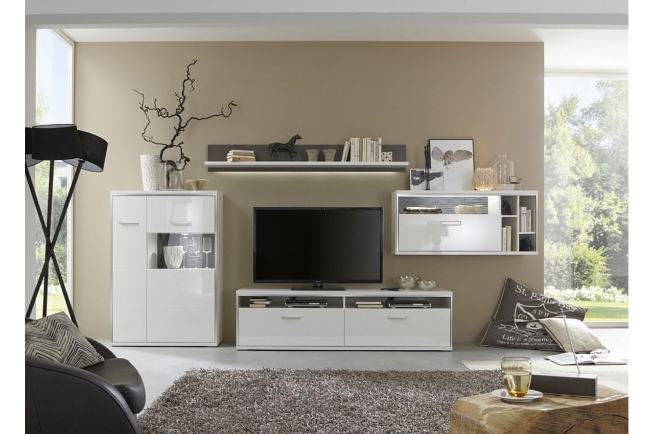 Meuble tv mural contemporain blanc cbc meubles for Ensemble table basse meuble tv blanc