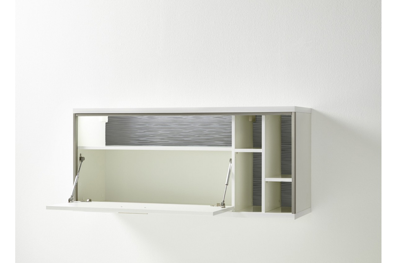 Meuble tv mural contemporain blanc cbc meubles for Ensemble meuble tv blanc