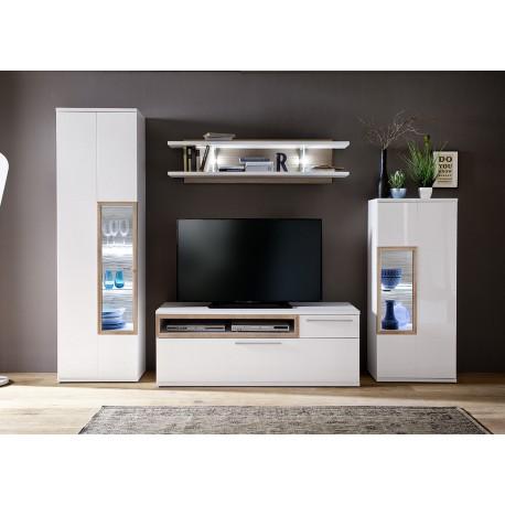 Ensemble TV design blanc et décor chêne