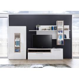 Ensemble mural TV blanc et décor chêne