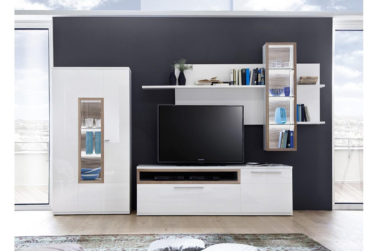 ensemble mural tv blanc et d cor ch ne cbc meubles. Black Bedroom Furniture Sets. Home Design Ideas