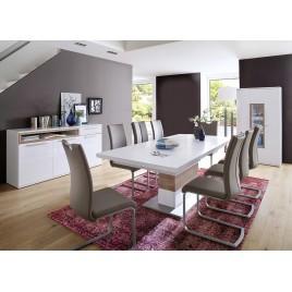 Salle à manger design blanche et décor bois