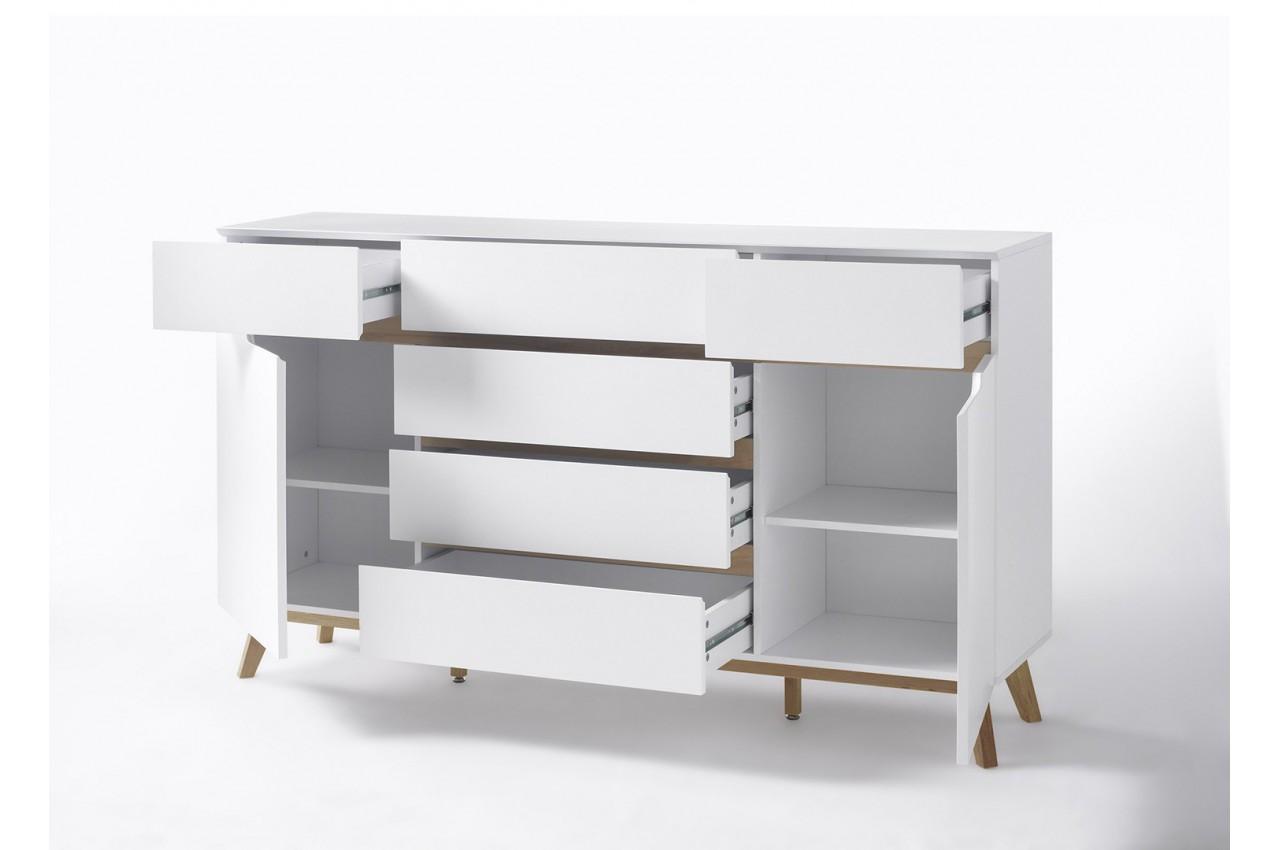 buffet scandinave blanc et bois 169 cm cbc meubles. Black Bedroom Furniture Sets. Home Design Ideas
