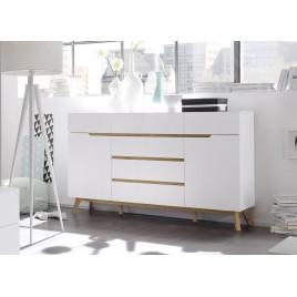 Buffet scandinave blanc et bois 169 cm