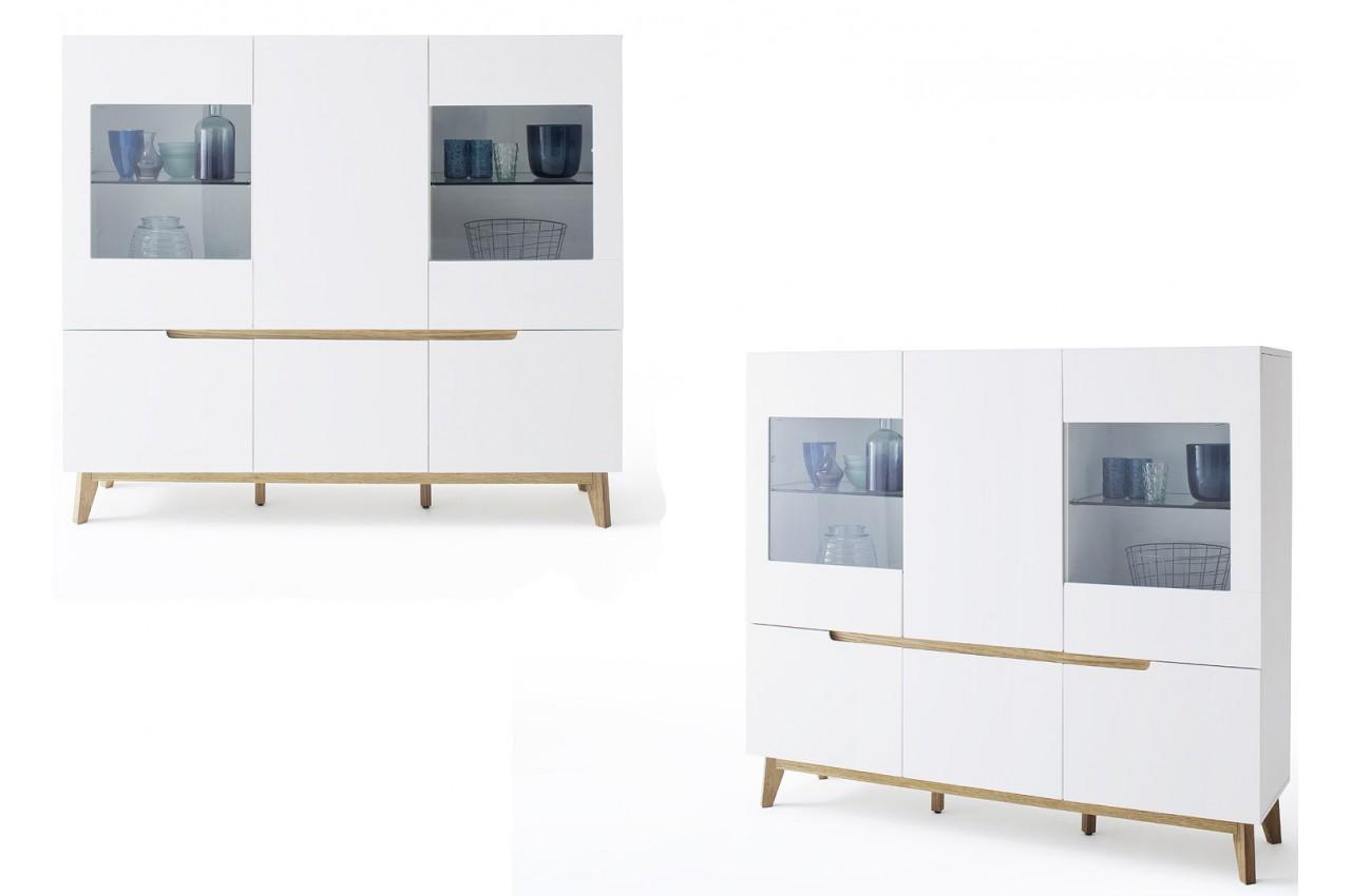 Buffet haut scandinave blanc et bois cbc meubles for Buffet haut blanc