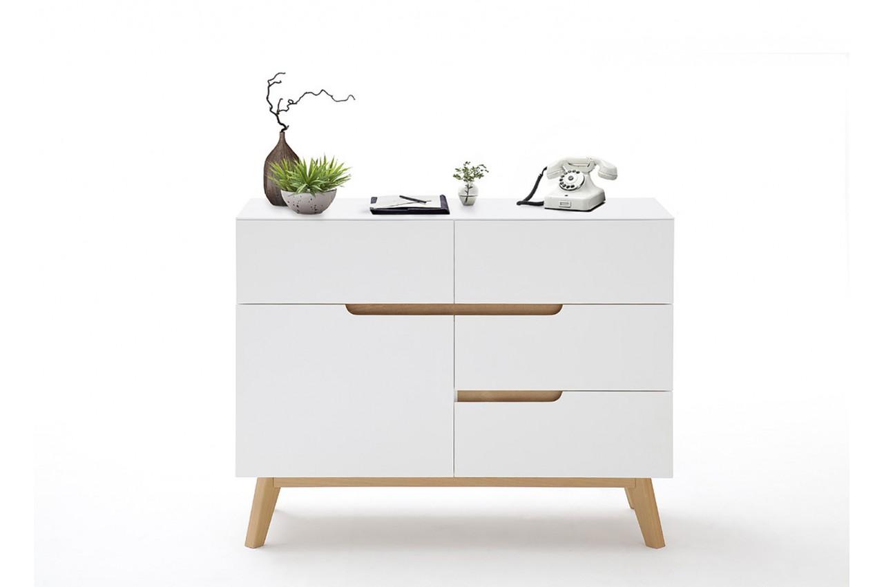 commode scandinave blanc et bois cbc meubles. Black Bedroom Furniture Sets. Home Design Ideas