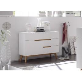 Commode scandinave blanc et bois
