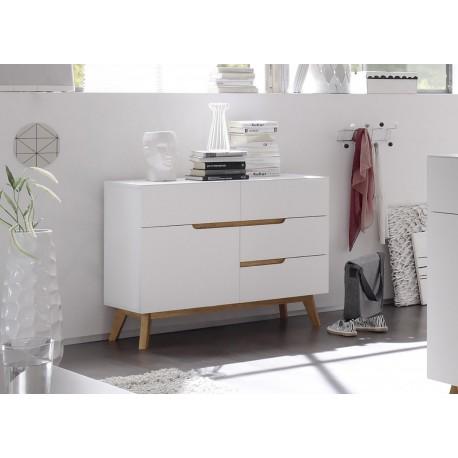 Meuble De Rangement Blanc Et Bois.Commode Scandinave Blanc Et Bois Cbc Meubles