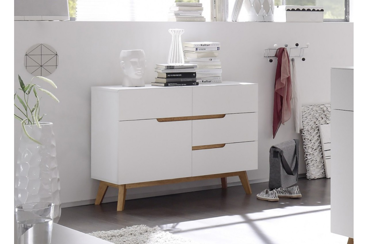 commode scandinave blanc et bois cbc meubles. Black Bedroom Furniture Sets. Home Design Ideas