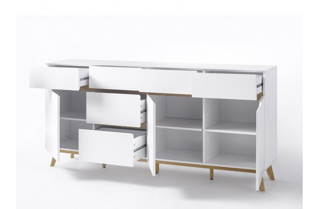 buffet scandinave blanc et bois 193 cm cbc meubles. Black Bedroom Furniture Sets. Home Design Ideas
