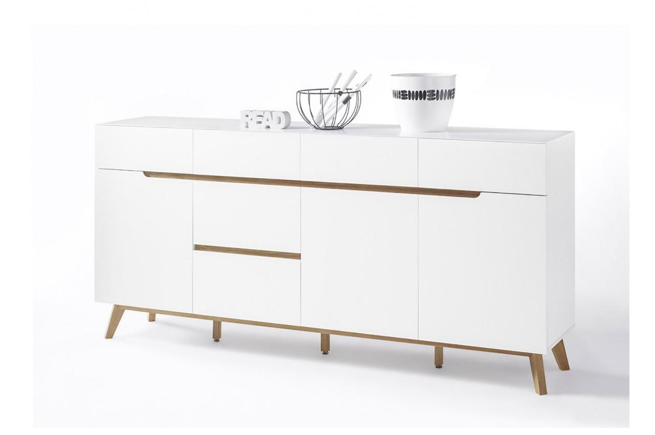 buffet scandinave blanc et bois 193 cm cbc meubles. Black Bedroom Furniture Sets. Home Design Ideas