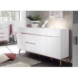 Buffet scandinave blanc et bois 193 cm