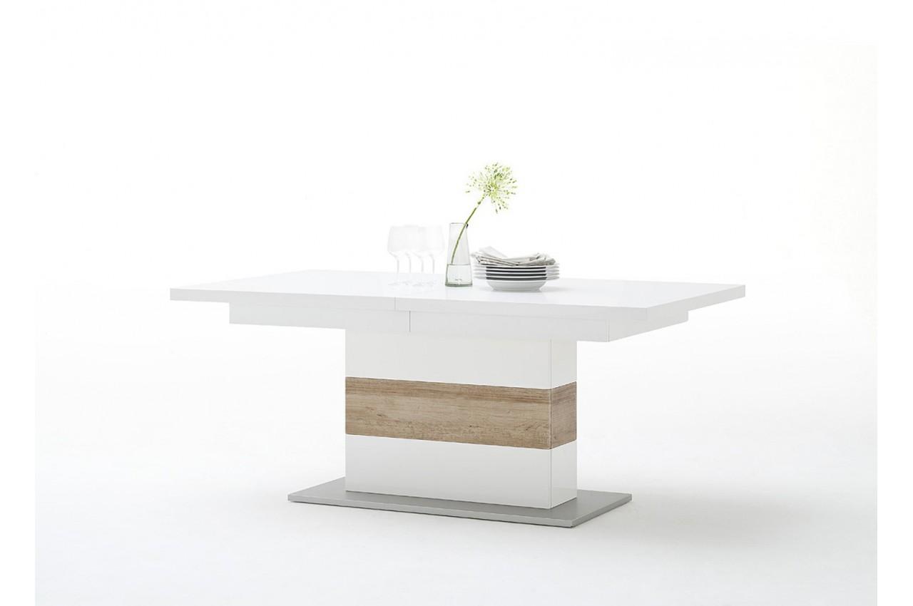 Table repas extensible blanc et bois cbc meubles for Table extensible blanc et bois