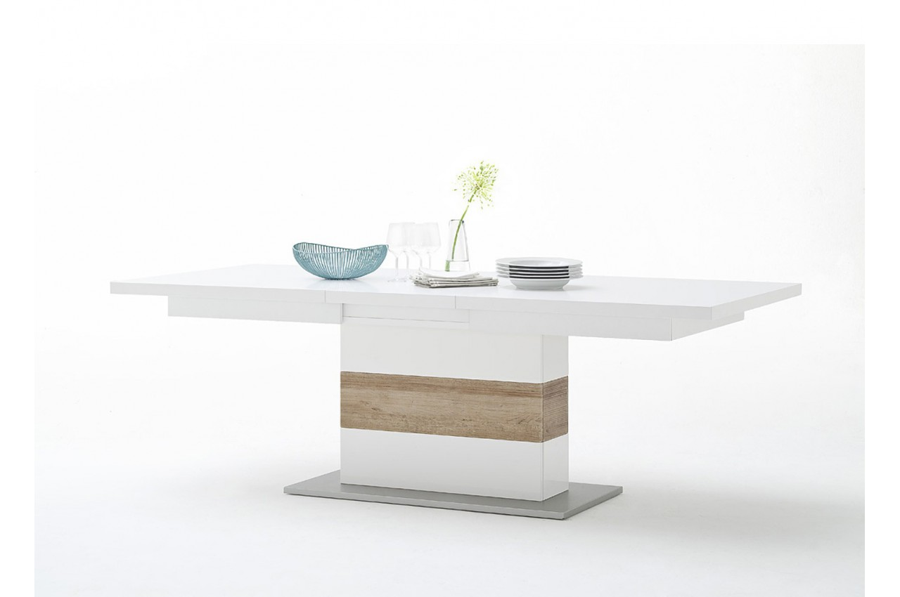Table repas extensible blanc et bois cbc meubles - Table extensible bois blanc ...