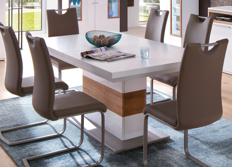 Table repas extensible blanc et bois