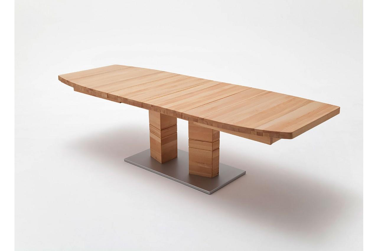 Table repas bois massif plateau bateau 140 220 cm cbc - Table repas bois massif ...
