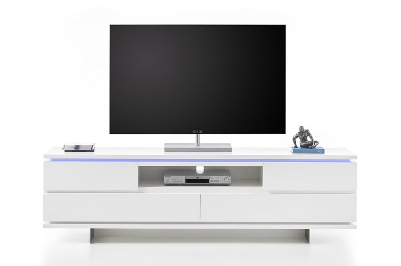 Meuble Tv Design Blanc Laqu 233 Mat Et Pied M 233 Tal Cbc Meubles