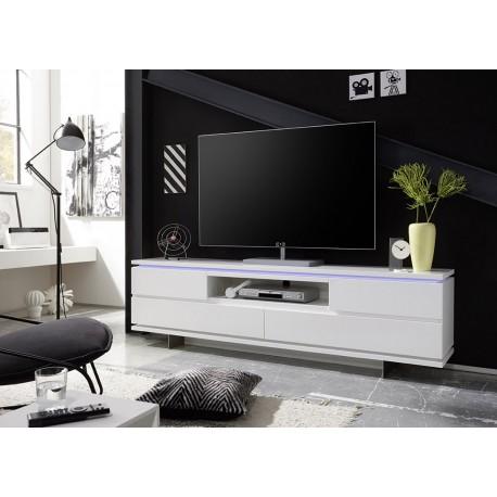 Meuble TV design blanc laqué mat et pied métal