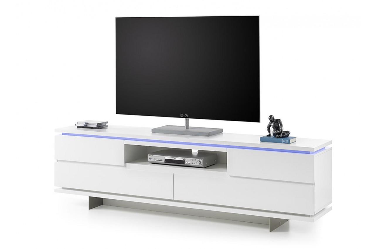 meuble tv design blanc laqu mat et pied m tal cbc meubles. Black Bedroom Furniture Sets. Home Design Ideas