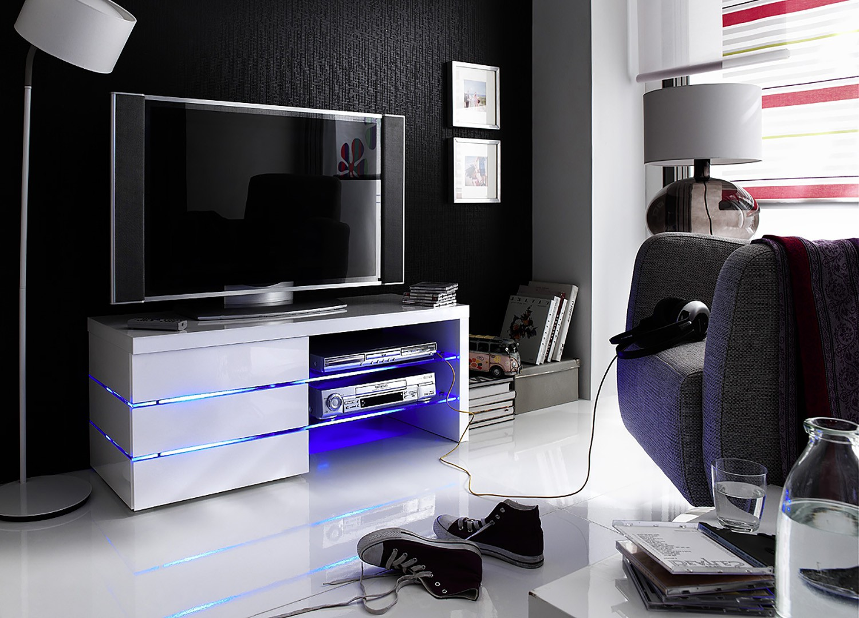 Meuble TV design led blanc laqué