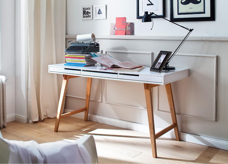 Table console design bois massif et blanche