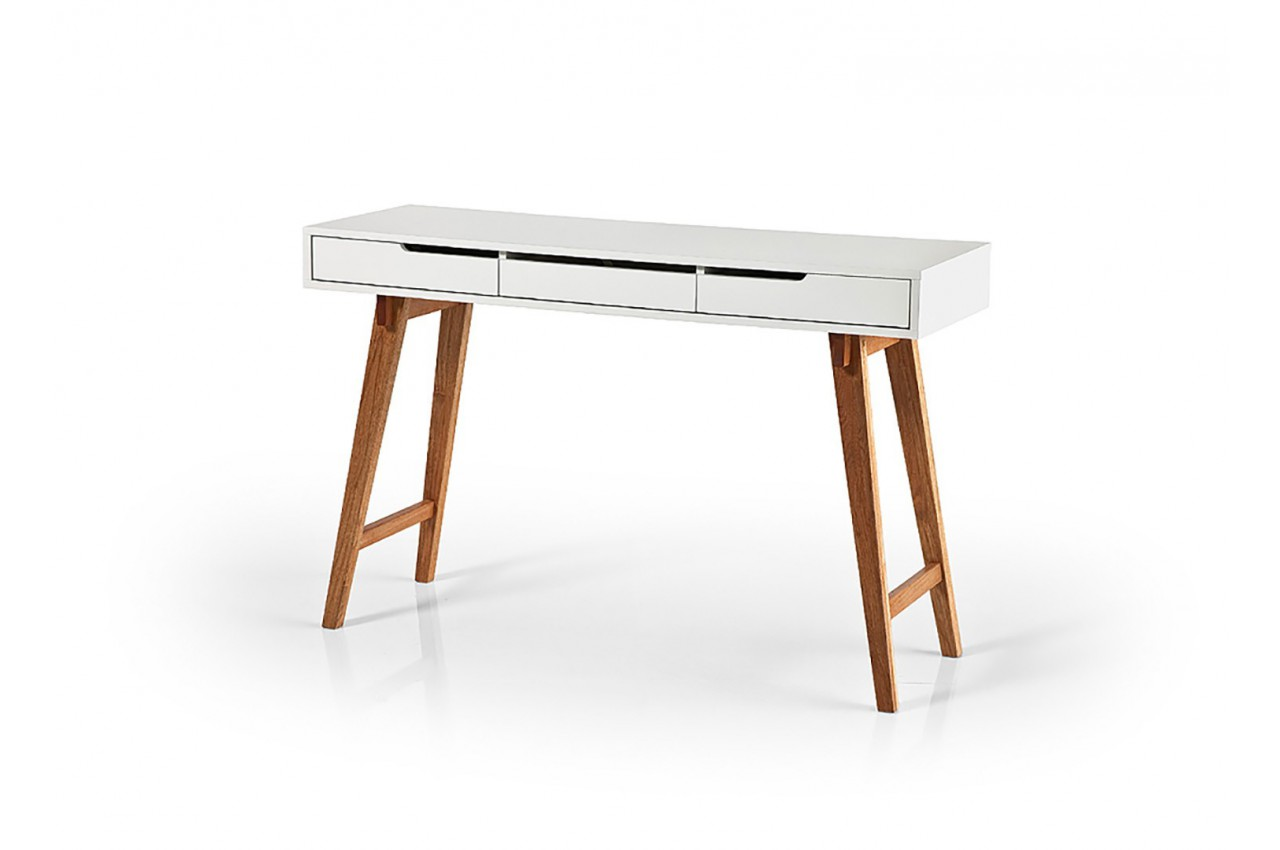 Table console design bois massif et blanche cbc meubles for Table bois massif design