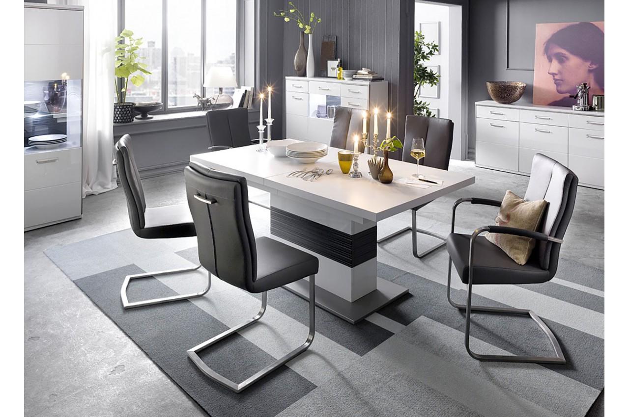 table repas design blanche et grise cbc meubles. Black Bedroom Furniture Sets. Home Design Ideas
