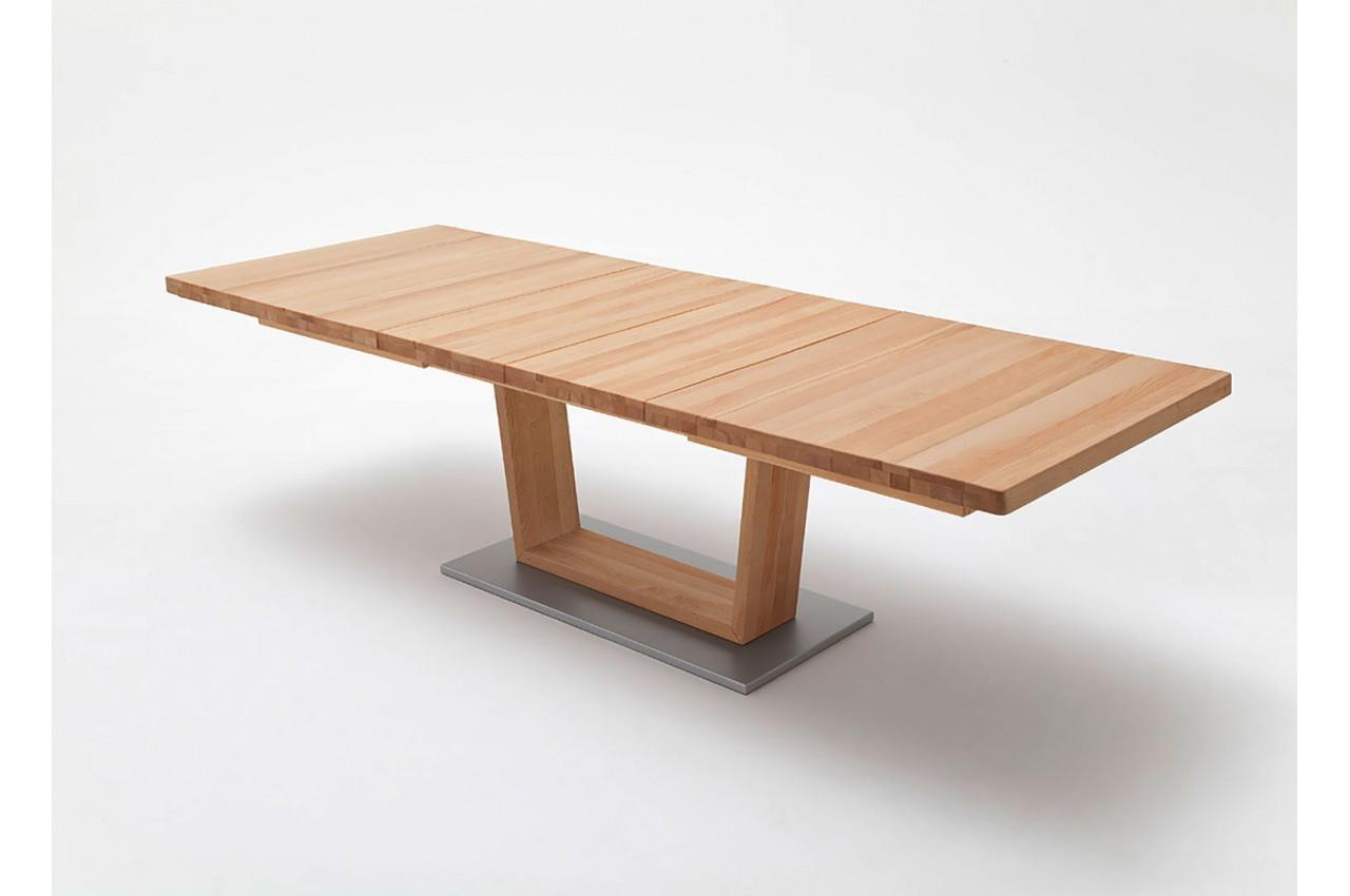 Table repas bois massif 140 220 cm extensible cbc meubles for Table extensible en bois massif