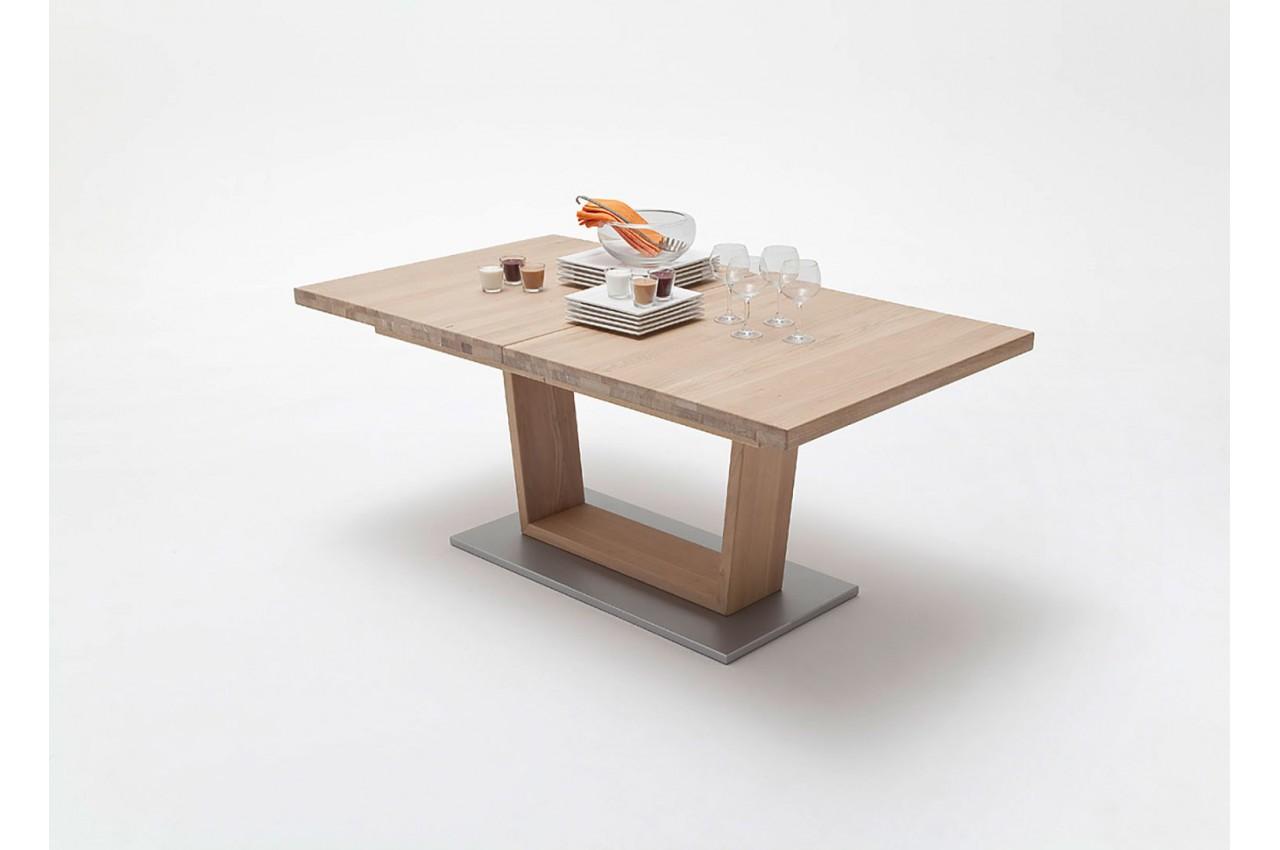 Table repas bois massif 140 220 cm extensible cbc meubles - Table repas bois massif ...