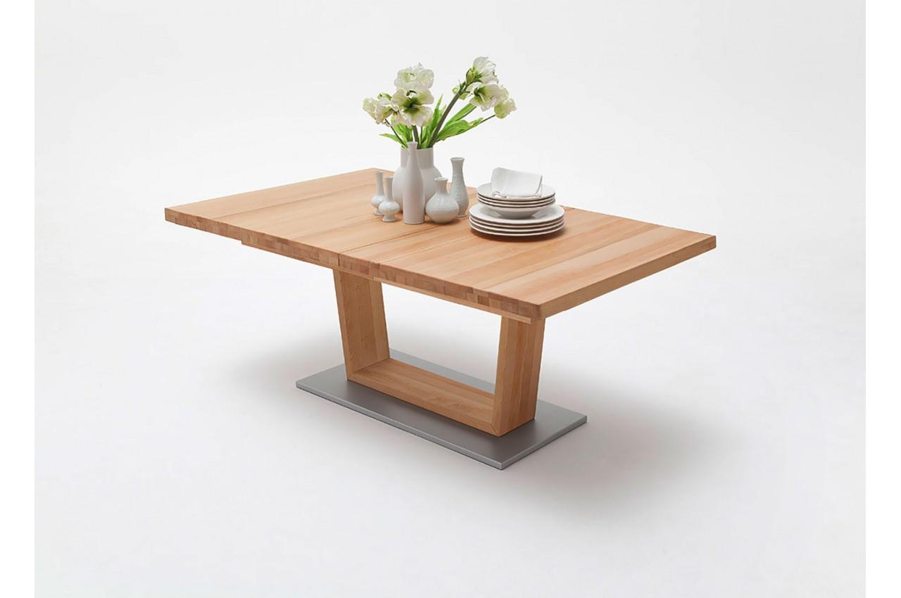 Table repas bois massif 180 270 cm extensible cbc meubles for Table extensible en bois massif