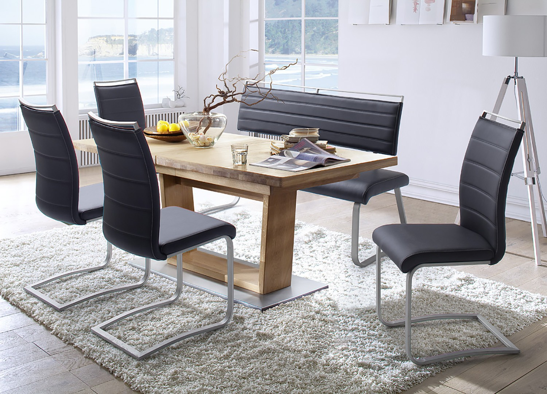 Table repas bois massif ovoïdale 180-270 cm extensible