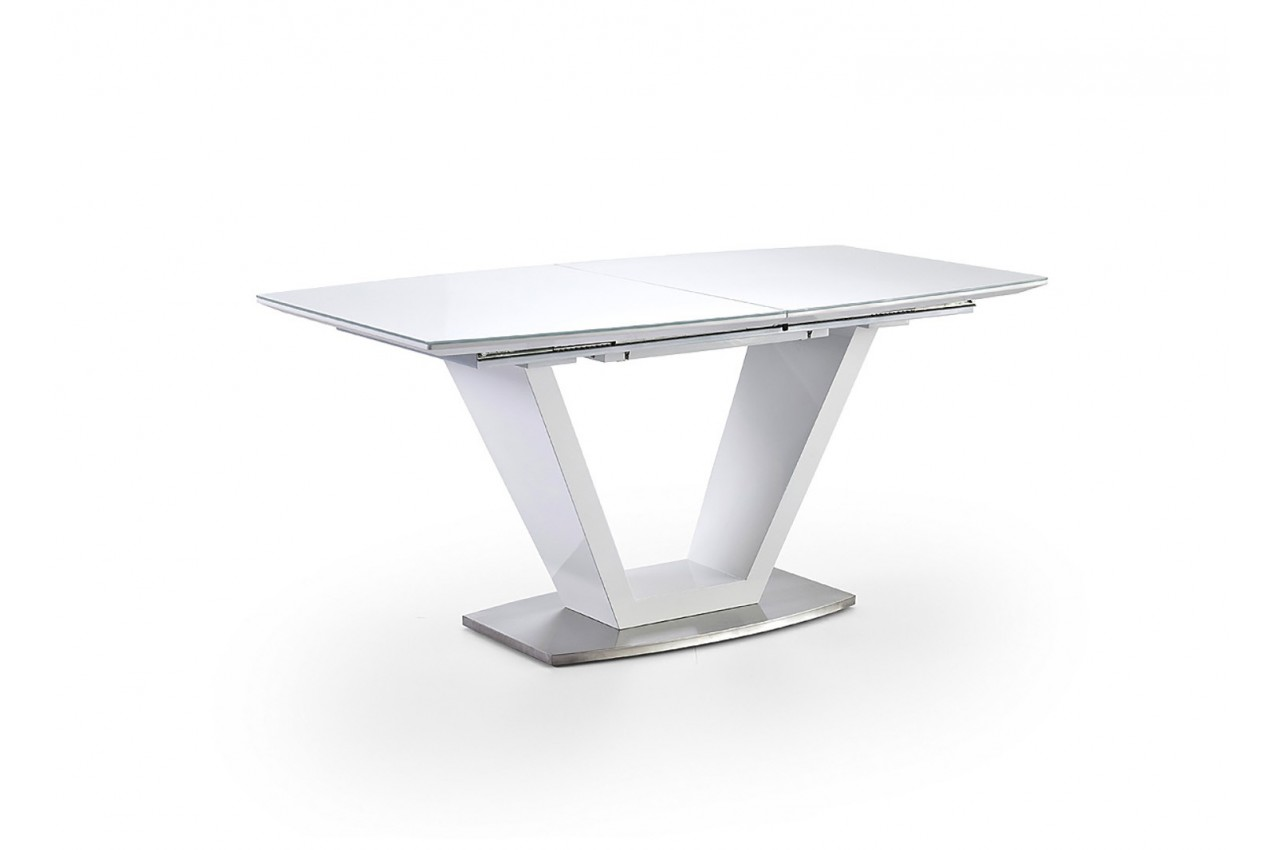 Table repas design extensible blanche cbc meubles for Table de repas design extensible