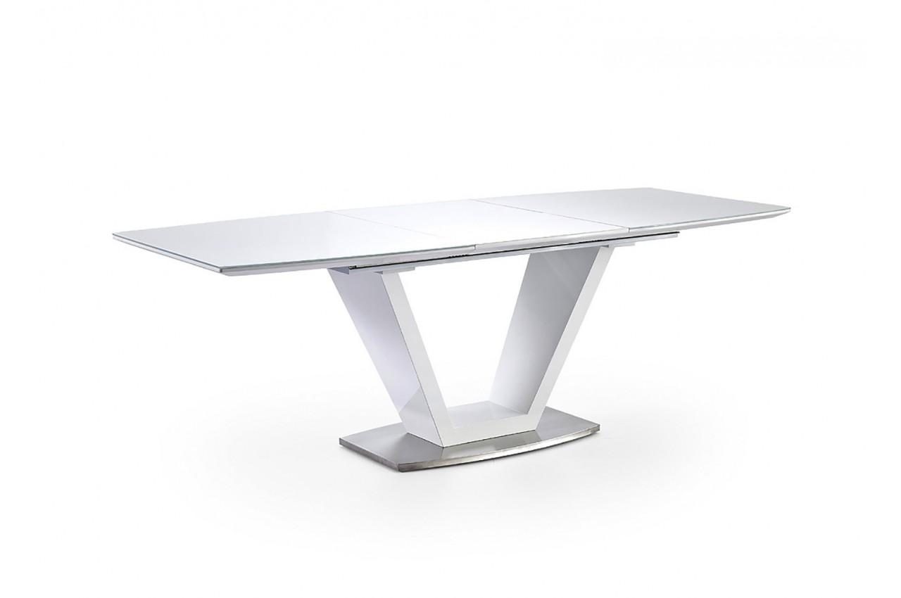 Table repas design extensible blanche cbc meubles - Table extensible blanche ...