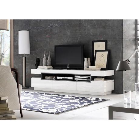 Meuble Tv Design Blanc Laque Cbc Meubles