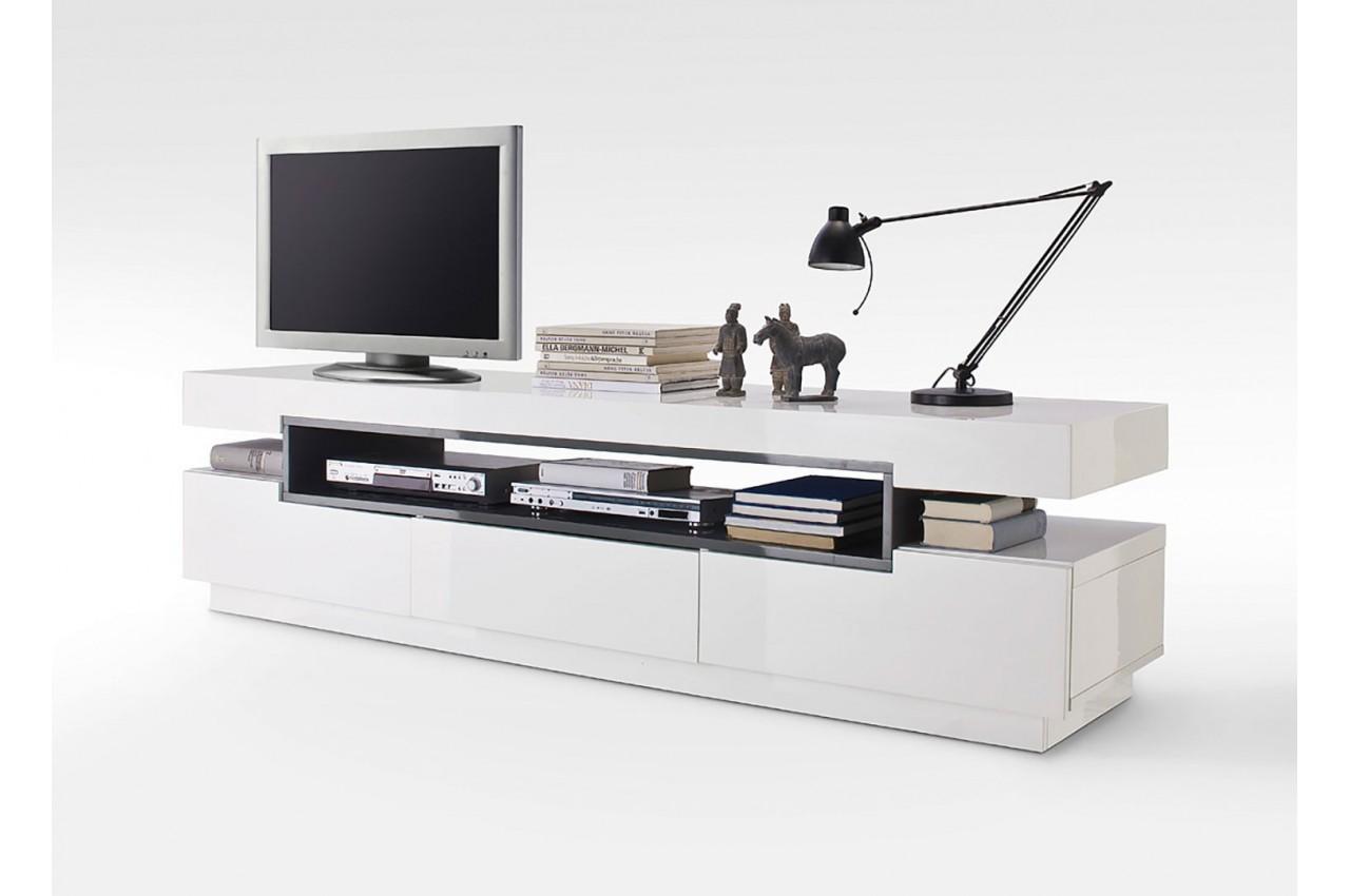 meuble tv design blanc laqu cbc meubles. Black Bedroom Furniture Sets. Home Design Ideas