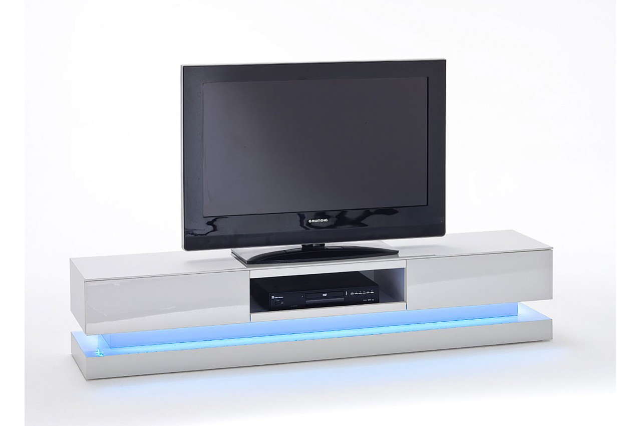 meuble tv design blanc laqu clairage led rgb cbc meubles. Black Bedroom Furniture Sets. Home Design Ideas