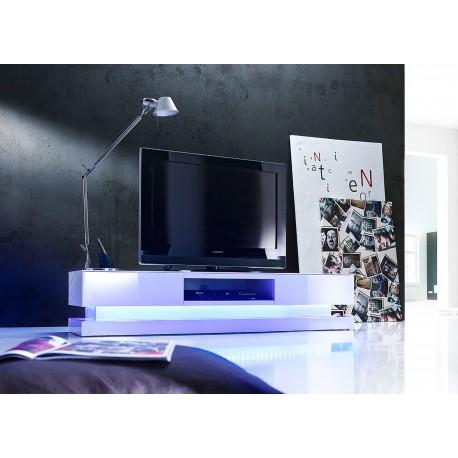 Meuble tv design blanc laqu clairage led rgb cbc meubles for Meuble tv pas large
