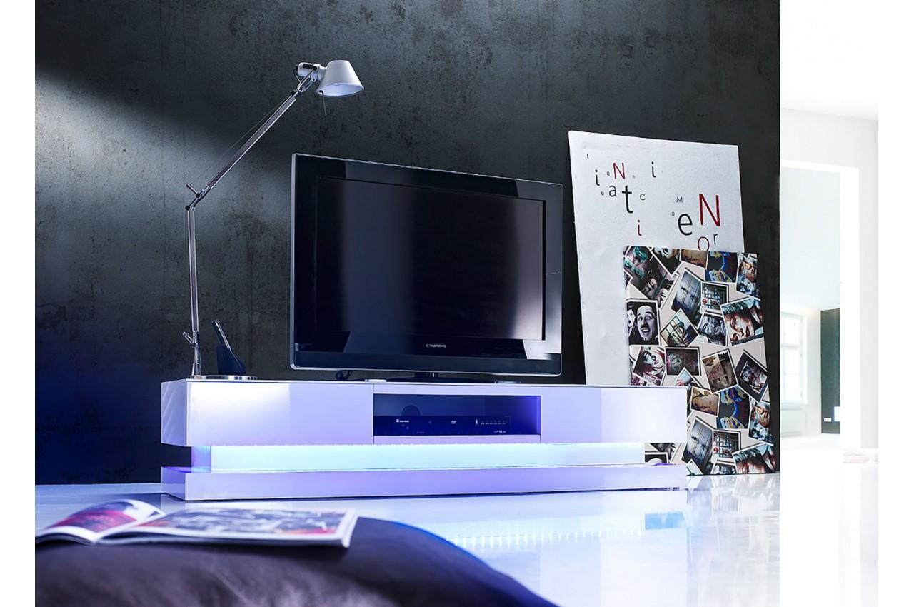 Meuble tv design blanc laqu clairage led rgb cbc meubles for Grand meuble tv blanc