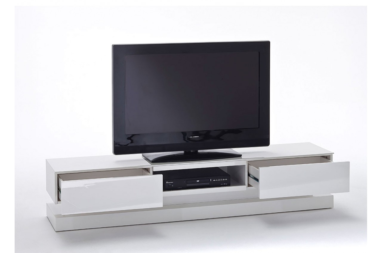 meuble tv design blanc laqu clairage led rgb cbc meubles. Black Bedroom Furniture Sets. Home Design Ideas