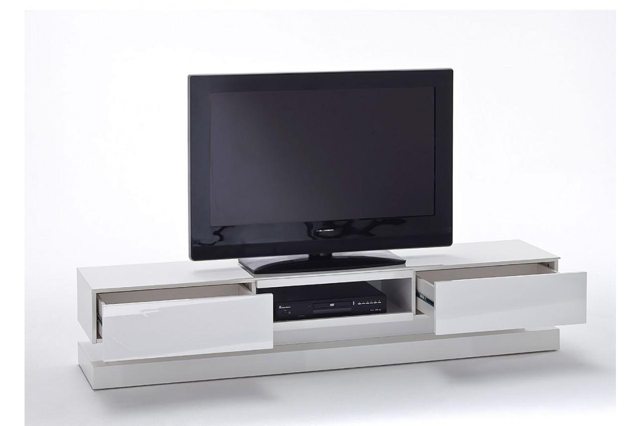 Meuble tv design blanc laqu clairage led rgb cbc meubles - Eclairage led pour meuble tv ...