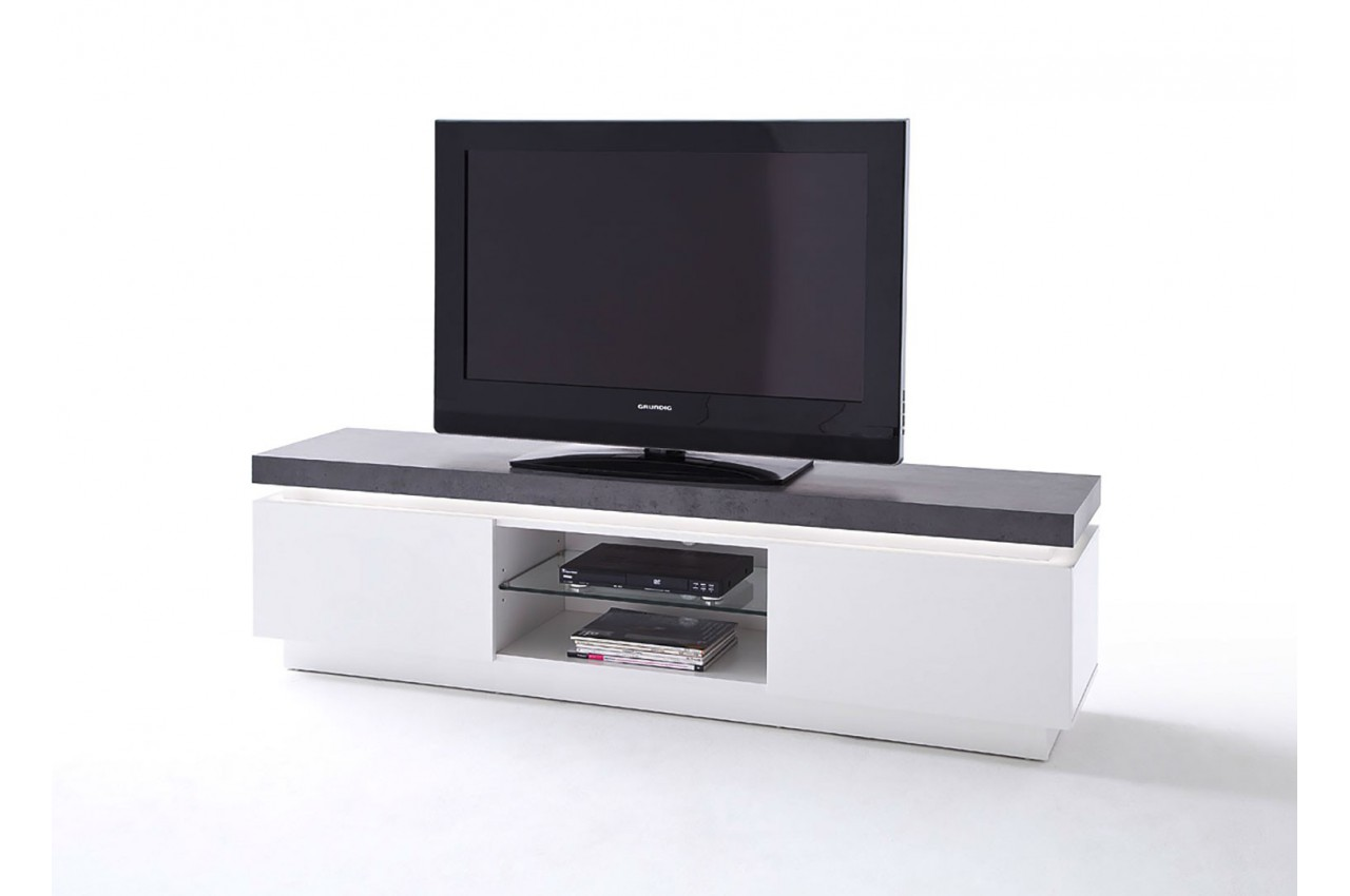 meuble tv design laqu blanc mat et b ton led cbc meubles. Black Bedroom Furniture Sets. Home Design Ideas