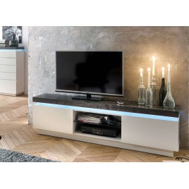 Meuble TV design laqué blanc mat et béton à led