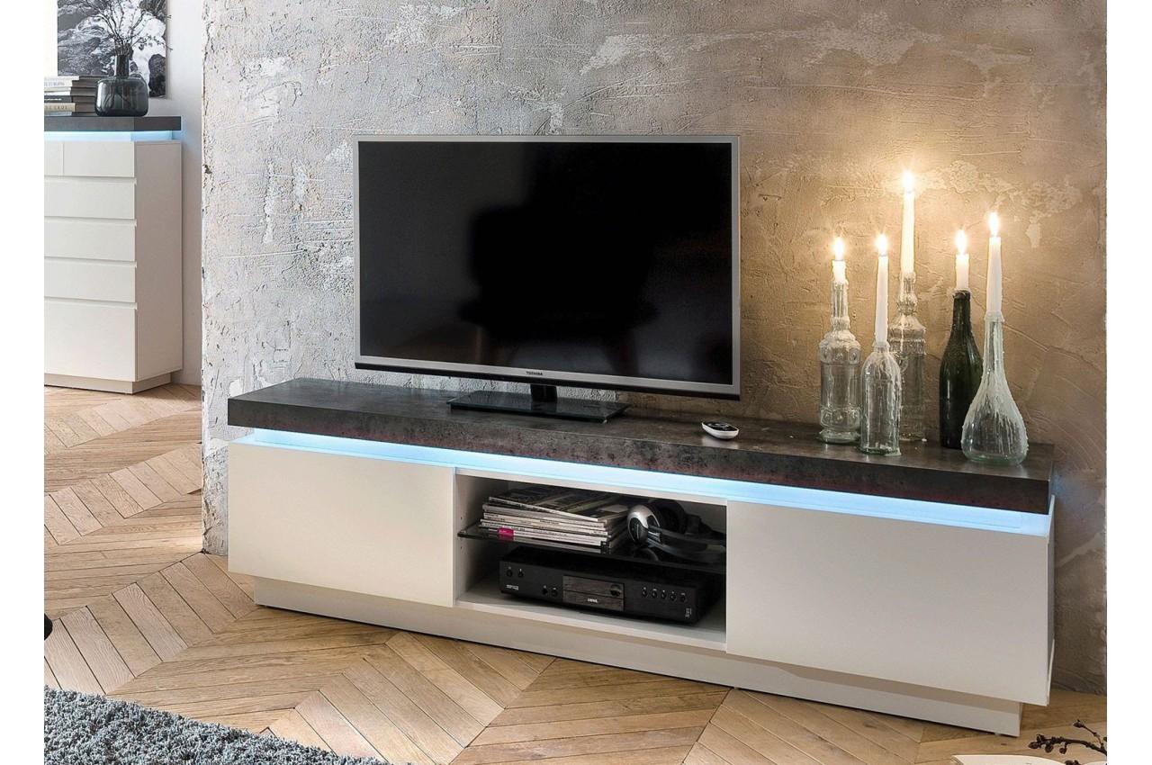 Meuble Tv Design Laqu Blanc Mat Et B Ton Led Cbc Meubles