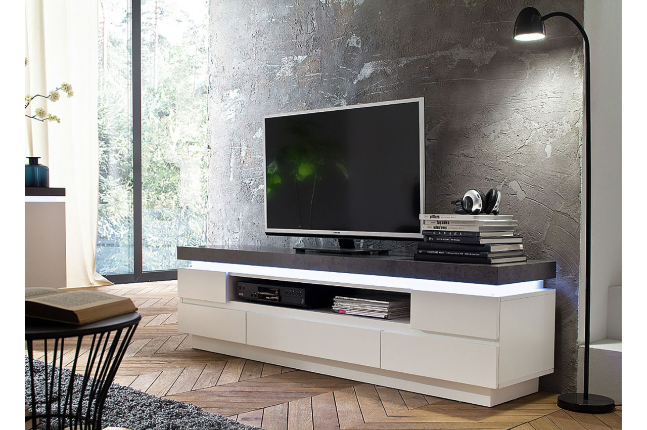 meuble tv design laqu blanc mat et effet b ton led. Black Bedroom Furniture Sets. Home Design Ideas