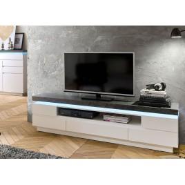 Meuble TV design laqué blanc mat et effet béton à led