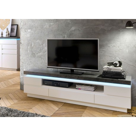 meuble tv design laqu blanc mat et effet b ton led cbc meubles. Black Bedroom Furniture Sets. Home Design Ideas