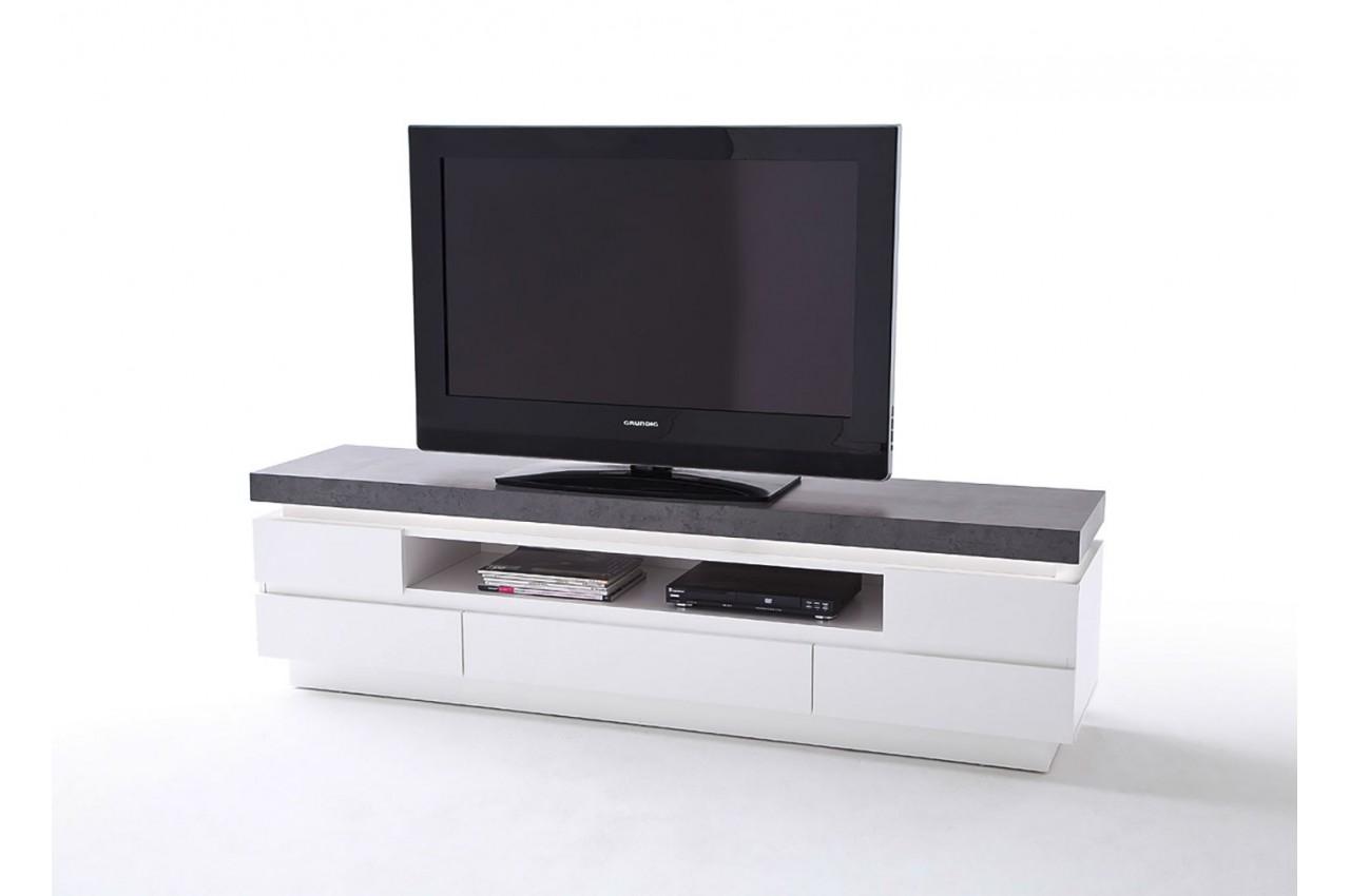 meuble tv design laqu blanc mat et effet b ton led cbc meubles. Black Bedroom Furniture Sets. Home Design Ideas